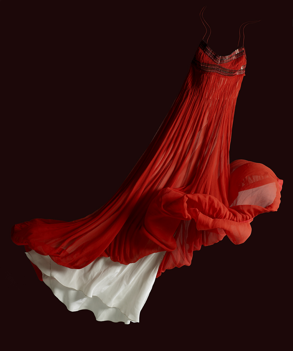 red dress floating