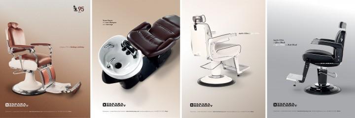 Campaign images for Takara Belmont's Iconic Chairs